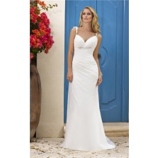 Sexy Summer Sweetheart Backless Chiffon Ruched Wedding Dress With Ruffles Straps