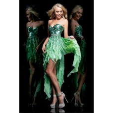 Sexy Sweetheart High Low Green Chiffon Ruffle Sequin Sparkly Prom Dress