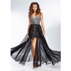Sexy Sweetheart Short Mini Black Chiffon Beaded Prom Dress With Detachable Skirt