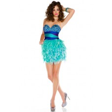 Sexy Sweetheart Short/ Mini Blue Beaded Aqua Feather Prom Cocktail Dress