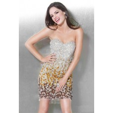Sexy Sweetheart Short Mini Gold Silver Ombre Beaded Club Cocktail Party Dress