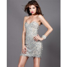 Sexy Sweetheart Short Mini Silver Beaded Sweet Sixteen Cocktail Party Dress