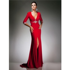 Sexy Tight V Neck Backless Cut Out Long Red Chiffon Beading Prom Dress With Sleeve