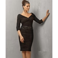 Sexy Tight V Neck Short Black Pleated Chiffon Cocktail Evening Dress With Sleeve
