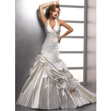 Sexy Trumpet/ Mermaid Halter Ivory Satin Beaded Wedding Dress With Pick Up Skirt