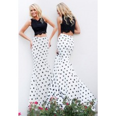 Sexy Unique Mermaid Two Piece Long Black White Lace  Evening Prom Dress