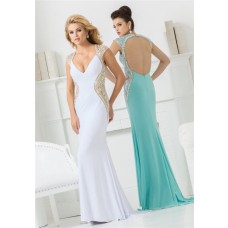 Sexy V Neck Cap Sleeve Open Back White Jersey Beaded Long Evening Prom Dress