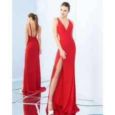 Sexy V Neck Low Back Side Slit Red Jersey Evening Prom Dress With Straps