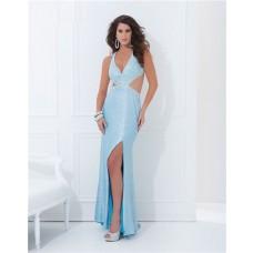 Sexy V Neck Side Cut Out Slit Backless Long Light Blue Sequin Prom Dress Open Back