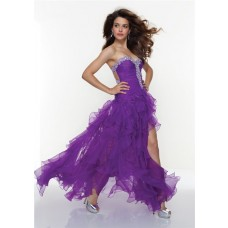 Sexy sweetheart purple organza high low prom dress with beading and ruffles