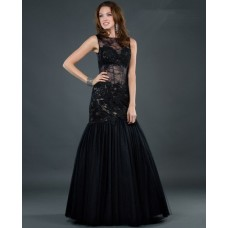 Sexy trumpet/ mermaid sleeveless sheer long black lace evening dress