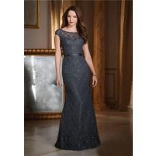 Sheath Bateau Neckline V Back Cap Sleeve Black Lace Beaded Formal Occasion Evening Dress