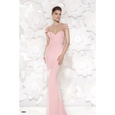 Sheath Cap Sleeeve Open Back Light Pink Satin Tulle Pearled Evening Dress