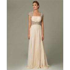 Sheath Cap Sleeve Sheer Illusion Back Long Cream Chiffon Beaded Prom Evening Dress