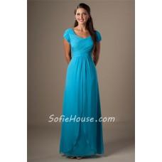 Sheath Cap Sleeves Turquoise Chiffon Ruched Long Modest Bridesmaid Dress