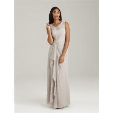 Sheath/Column scoop long light grey chiffon modest bridesmaid dress with ruffles