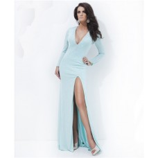 Sheath Deep V Neck Backless Long Sleeve Baby Blue Chiffon Beading Prom Dress Slit
