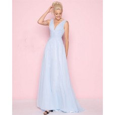 Sheath Deep V Neck Light Sky Blue Chiffon Ruched Evening Prom Dress