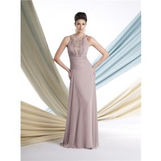 Sheath Halter Chiffon Ruched Mother Of The Bride Formal Occasion Evening Dress