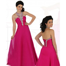 Sheath Halter Corset Back Long Fuchsia Chiffon Beaded Teen Prom Dress