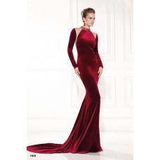 Sheath High Neck Burgundy Velvet Long Sleeve Winter Evening Dress With Train