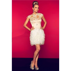 Sheath High Neck Cap Sleeve Backless Short White Feather Lace Prom Dress Open Back