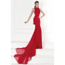 Sheath High Neck Red Chiffon Lace Formal Occasion Evening Dress With Bow Train
