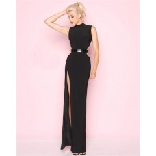 Sheath High Neck Side Cut Outs Slit Black Jersey Evening Prom Dress Metal Belt