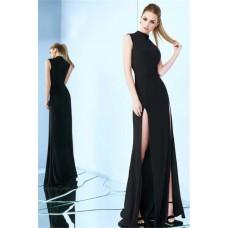 Sheath High Neck Sleeveless Side Slit Black Jersey Evening Prom Dress