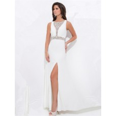 Sheath Illusion Deep V Neck Sheer Back Long White Chiffon Beaded Prom Dress With Split