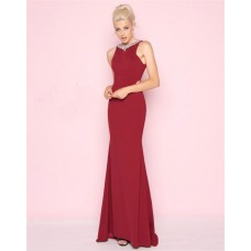 Sheath Jewel Neckline Backless Long Burgundy Jersey Evening Prom Dress