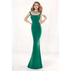 Sheath Jewel Neckline Emerald Green Satin Beaded Evening Prom Dress