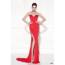 Sheath Jewel Neckline Sheer Back High Slit Red Satin Evening Dress With Bows