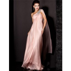 Sheath One Shoulder Empire Waist Long Light Pink Chiffon Beading Evening Dress With Shawl