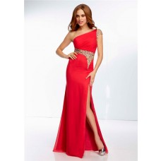 Sheath One Shoulder Long Red Chiffon Sheer See Through Beaded Prom Dress With Slit