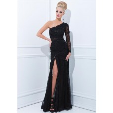 Sheath One Shoulder Long Sleeve Black Lace Evening Prom Dress With Slit