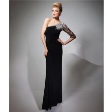 Sheath One Shoulder Sheer Sleeve Long Black Chiffon Beaded Evening Prom Dress