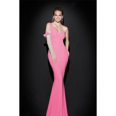 Sheath One Shoulder Sleeved Pink Satin Evening Prom Dress With Bow