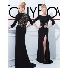 Sheath Scoop 3 4 Sleeve Sheer Back Long Black Chiffon Beaded Evening Prom Dress