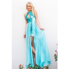 Sheath Scoop Neck Front Cut Out Long Turquoise Sequins Chiffon Prom Dress With Straps