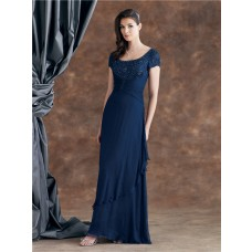 Sheath Scoop Neck Short Sleeve Navy Blue Chiffon Ruched Mother Of The Bride Evening Dress