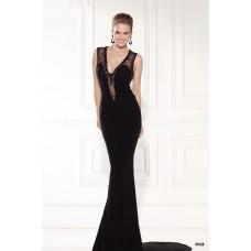 Sheath Sleeveless Black Satin Tulle Beaded Evening Dress With Sweep Train