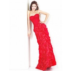 Sheath Slim Sweetheart Long Red Ruched Flowers Evening Prom Dress