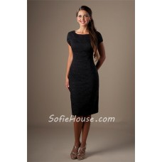 Sheath Square Neck Black Lace Short Bridesmaid Dress With Sleeves