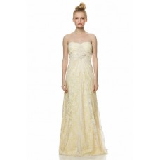 Sheath Strapless Long Yellow Satin Ivory Lace Ruched Bridesmaid Dress With Flowers