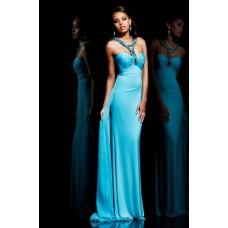Sheath Sweetheart Empire Long Blue Chiffon Evening Prom Dress With Beading Straps
