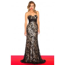 Sheath Sweetheart Empire Waist Long Black Lace Evening Prom Dress With Train