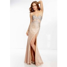 Sheath Sweetheart Empire Waist Open Back Long Nude Champagne Chiffon Prom Dress