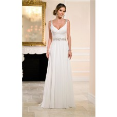 Sheath Sweetheart Keyhole Open Back Garden Beach Chiffon Beaded Wedding Dress