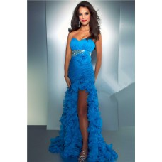 Sheath Sweetheart Long Blue Organza Ruffle Prom Dress With Beading Crystal
